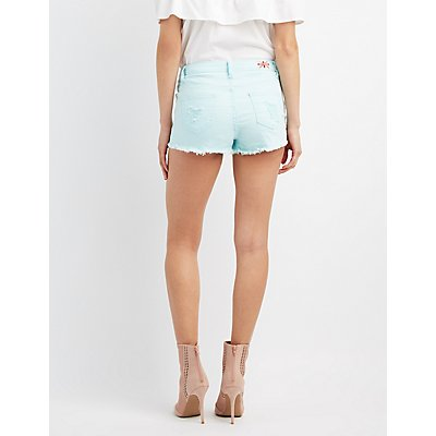 Machine Jeans Destroyed High-Rise Shorts