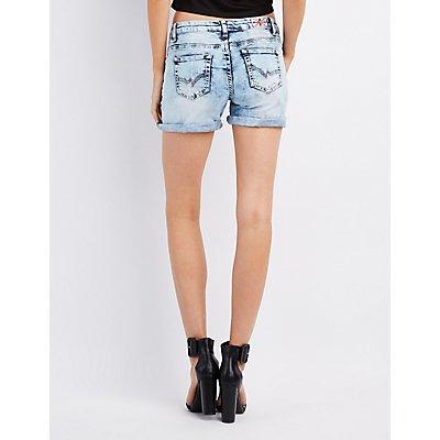 Machine Jeans Acid Wash Destroyed Shorts