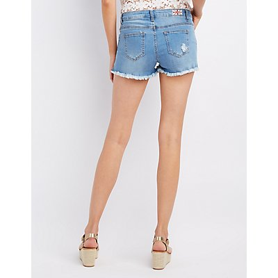 Machine Jeans Destroyed Denim Shorts