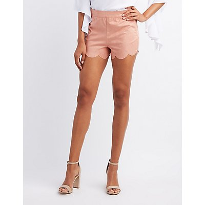 Faux Suede Scalloped Shorts