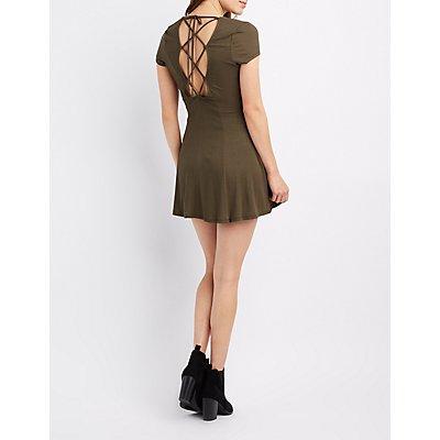 Lace-Up Back Swing Dress