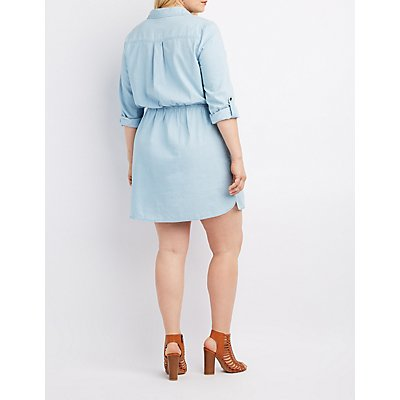 Plus Size Chambray Button-Up Shirt Dress