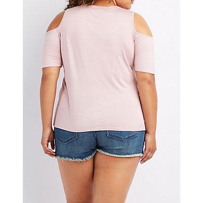 Plus Size Lace-Up Cold Shoulder Top
