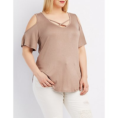 Plus Size Strappy Cold Shoulder Tee