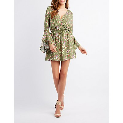 Floral Surplice Bell Sleeve Dress