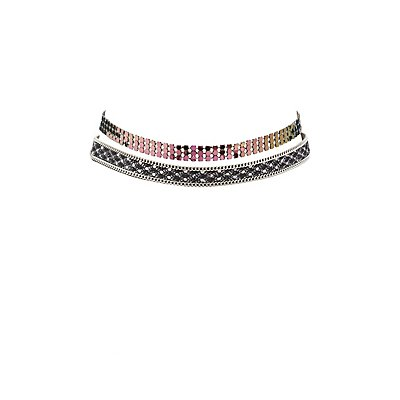 Embellished Iridescent Choker Necklaces - 2 Pack