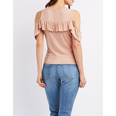 Ruffle-Trim Ribbed Cold Shoulder Top
