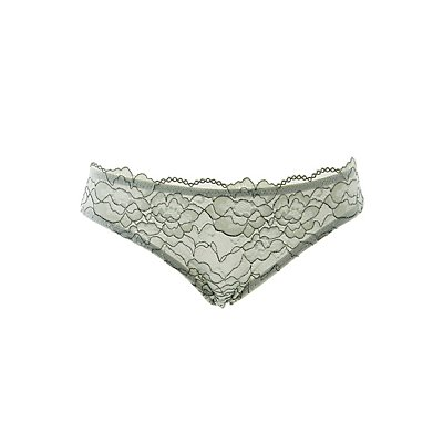 Lace-Front Mesh Hipster Panties