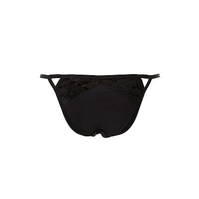 Velvet-Trim Cut-Out Cheeky Panties