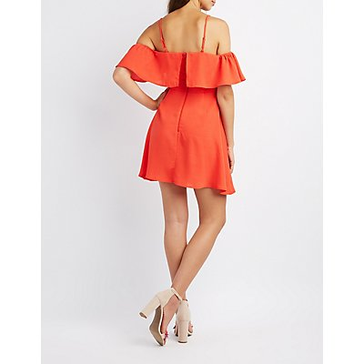 Ruffle-Trim Cold Shoulder Skater Dress