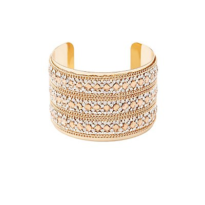 Plus Size Embellished Chain Cuff Bracelet