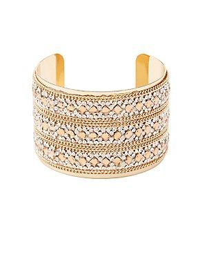 Plus Size Embellished Chain Cuff Bracelet
