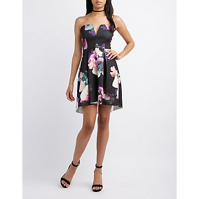 Floral Strapless Skater Dress