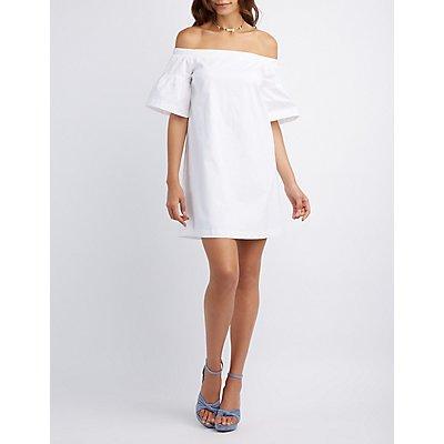 Poplin Off-The-Shoulder Shift Dress