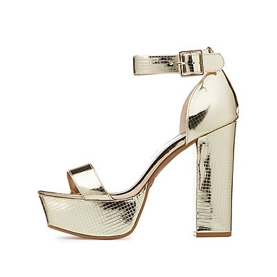 Metallic Platform Two-Piece Sandals