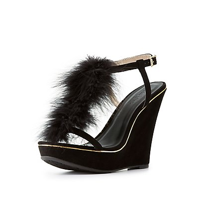 Feather T-Strap Wedge Sandals