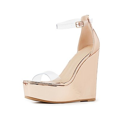 Clear Two-Piece Wedge Sandals