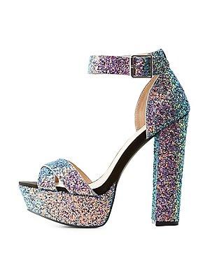 Glitter Two-Piece Platform Sandals