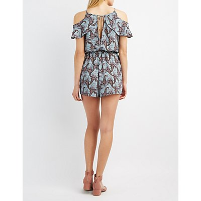 Paisley Ruffle Cold Shoulder Romper