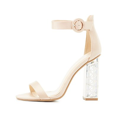Two-Piece Lucite Heel Sandals