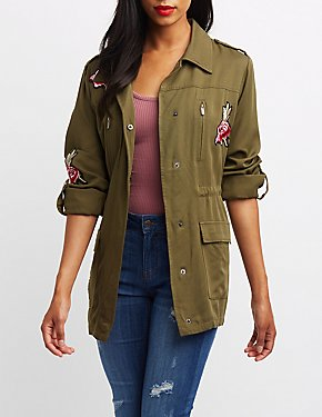 Rose Patch Anorak Jacket