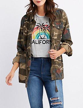 Floral & Camo Print Anorak Jacket