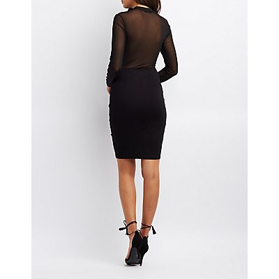 Mock Neck Mesh-Trim Bodycon Dress