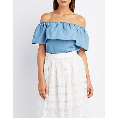 Chambray Ruffle Off-The-Shoulder Top