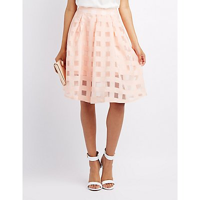 Windowpane Organza Midi Skirt