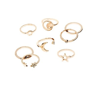 Embellished Stacking Rings - 8 Pack