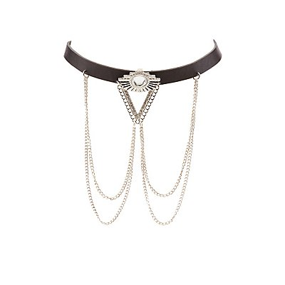 Plus Size Embellished Leather Choker Necklace