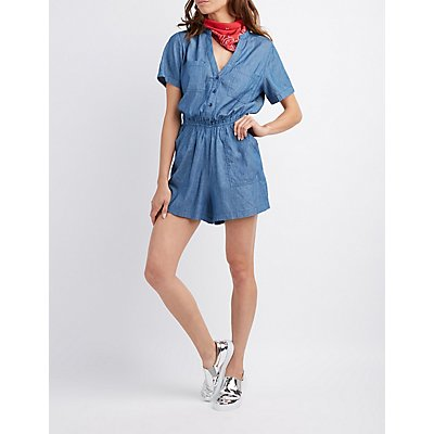 Button-Up Chambray Romper