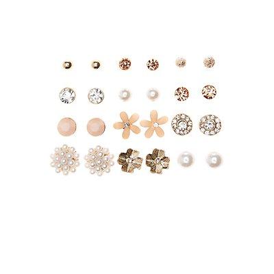 Embellished Floral Stud Earrings - 12 Pack