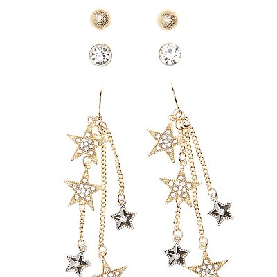 Embellished Star Drop & Stud Earrings - 3 Pack