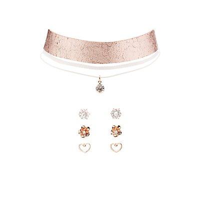 Metallic Choker Necklaces & Earrings Set