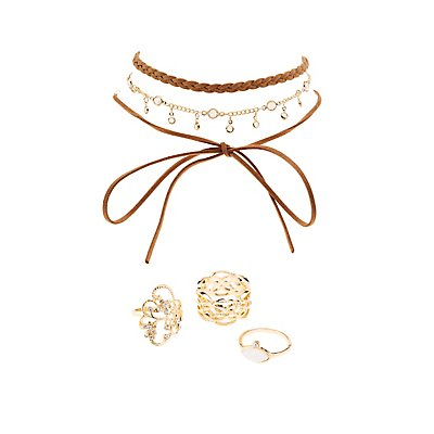 Embellished Statement Rings & Choker Necklaces - 6 Pack