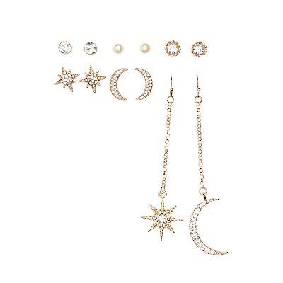 Celestial Drop & Stud Earrings - 6 Pack