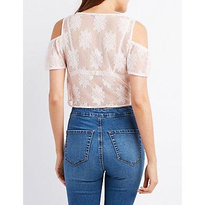 Lace Cold Shoulder Crop Top