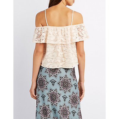 Lace Crochet-Trim Cold Shoulder Top