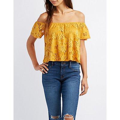 Floral Lace Off-The-Shoulder Crop Top