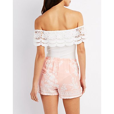 Crochet Off-The-Shoulder Bodysuit