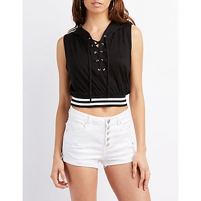 Lace-Up Muscle Tank Hoodie