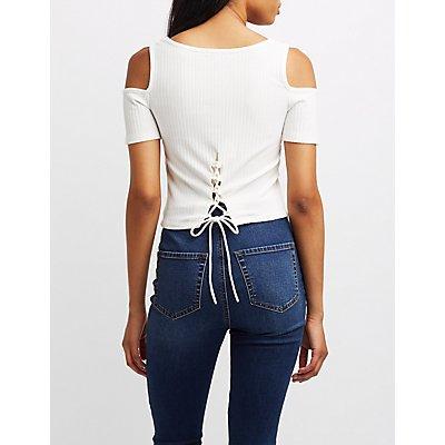 Ribbed Cold Shoulder Lace-Back Top