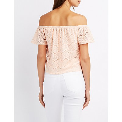Lace-Up Lace Off-The-Shoulder Top