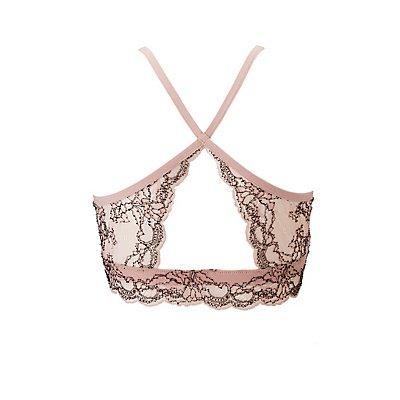 Plus Size Lace Bib Neck Bralette