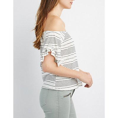 Striped Off-The-Shoulder Ruffle Top