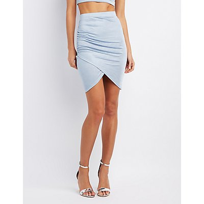 Satin Ruched Wrap Skirt