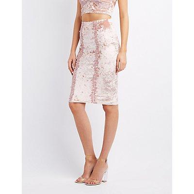 Crushed Velvet Pencil Skirt