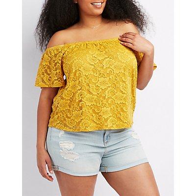 Plus Size Lace Off-The-Shoulder Crop Top