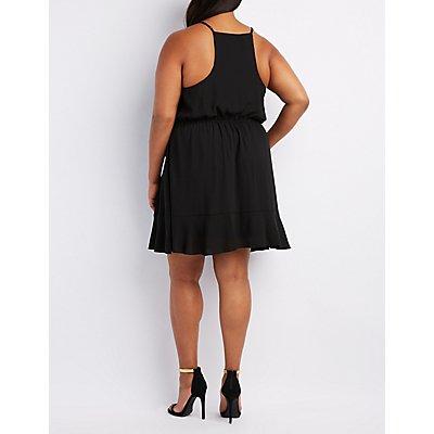 Plus Size Ruffle-Trim Surplice Dresss
